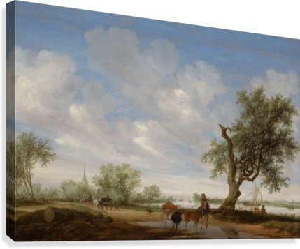 Landscape with a Road alongside a River  Canvas Print