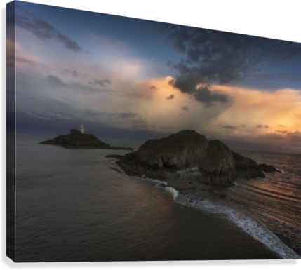 DUSK AT MUMBLES LIGHTHOUSE LEIGHTON COLLINS  Canvas Print