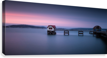 Mumbles pier and lifeboat station in Swansea  Canvas Print