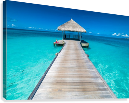 View of water bungalow in tropical island, Maldives, Indian ocean  Canvas Print