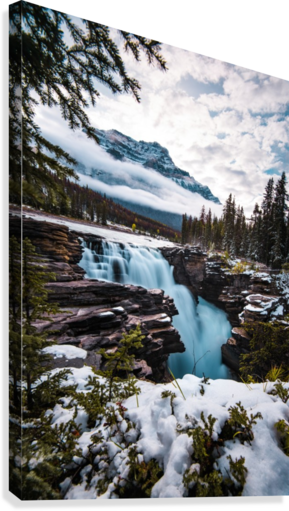Wintry Waterfall  Canvas Print
