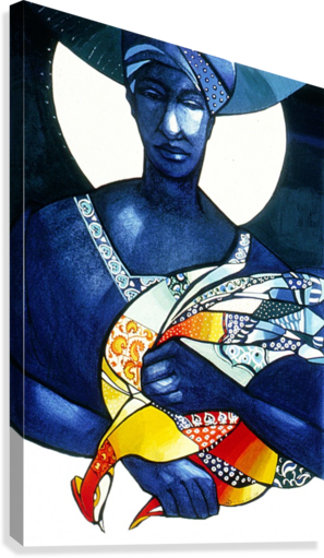 Blue Woman with a bird  Impression sur toile