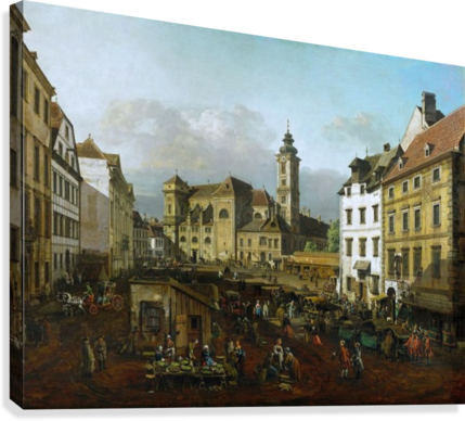 Market outside church  Canvas Print