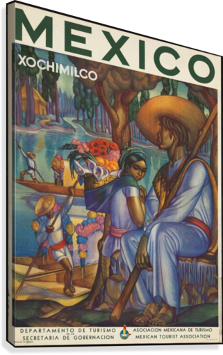 MEXICO XOCHIMILCO VINTAGE POSTER VINTAGE POSTER  Canvas Print