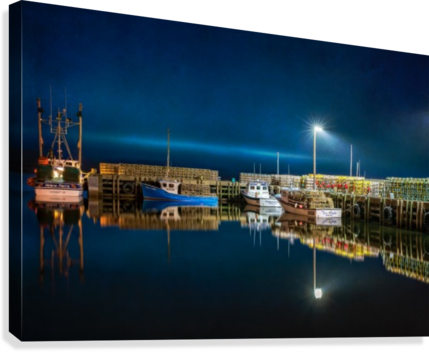 NIGHT TIME AT THE WHARF with textures  Canvas Print