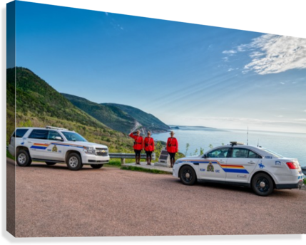 RCMP with cruisers at French Mountain Monument  Canvas Print