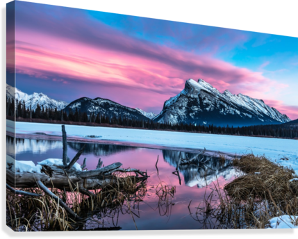 Rundle Mountain Sunset Banff National Park  Canvas Print