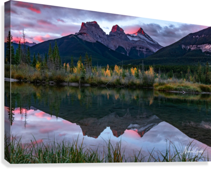 Three Sisters Fall Sunrise Canmore  Canvas Print