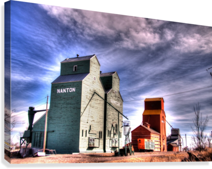 Grain Elevators in Nanton Alberta  Canvas Print