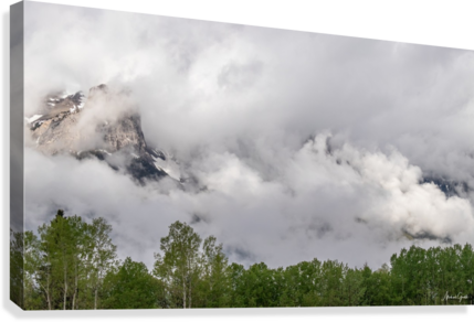 Billowy Clouds Surround Rundle Mountain  Canvas Print