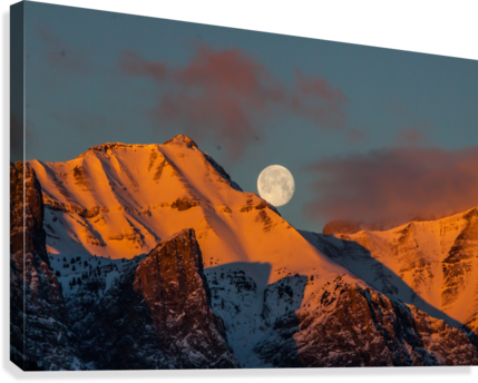 Super Moon Setting Behind Rundle Mountain  Canvas Print