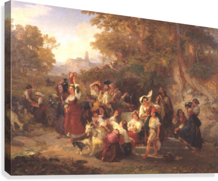Neapolitan Peasants at a Fountain 1859  Canvas Print