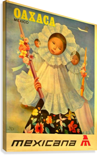 Oaxaca Mexico 1969 travel poster for Mexicana Airlines  Canvas Print