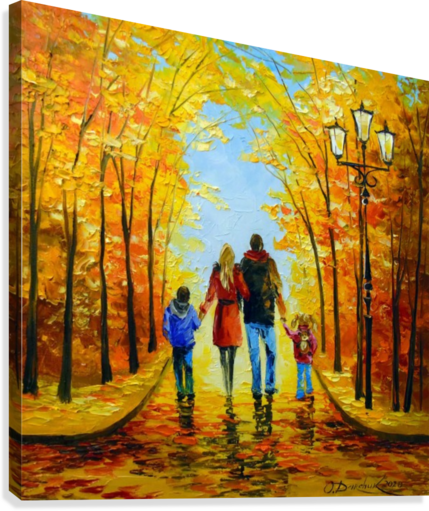 Walk with the whole family in the autumn Park  Canvas Print