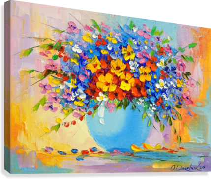 A bouquet of bright flowers  Canvas Print