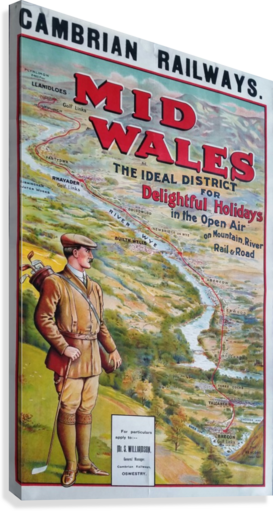 Original vintage poster golf Cambrian railways Mid Wales river  Canvas Print