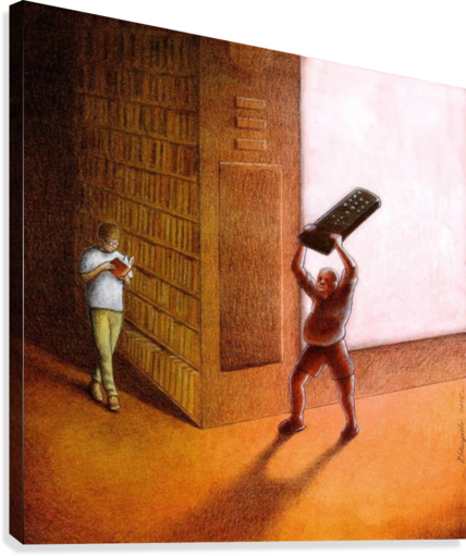 TV AND BOOKS PAWEL KUCZYNSKI  Canvas Print