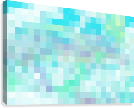 Abstract Pixel Picture -Ocean shades   Canvas Print