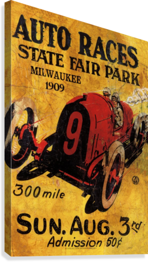 Milwaukee 300 Mile Auto Races State Fair Park 1909  Canvas Print