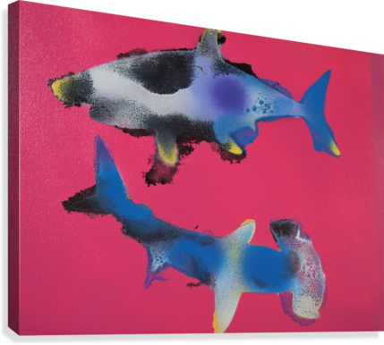 TWO HUNGRY SHARKS  Canvas Print