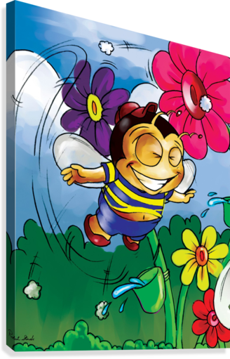 Happiness - Flower Power Buster Bee  Canvas Print