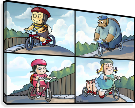 Time for a Bike Ride   Best Friends   4 panel Favorites for Kids Room and Nursery   Bugville Critters  Canvas Print