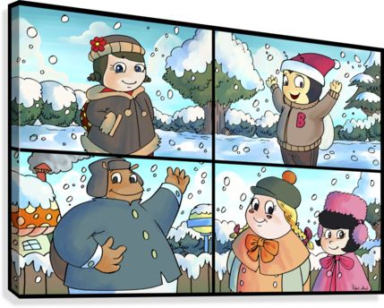 Winter Wonderland Fun   Playing in the Snow   4 panel Favorites for Kids Room and Nursery   Bugville Critters  Canvas Print
