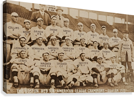 1915 BOSTON RED SOX TEAM PHOTO ROW ONE BRAND  Canvas Print