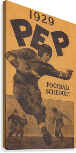 1929 Pep Football Schedule Art  Canvas Print