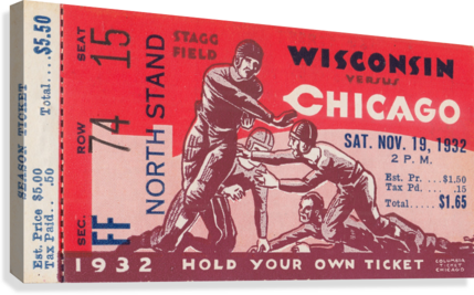 1932 Wisconsin Badgers vs. Chicago Maroons  Canvas Print