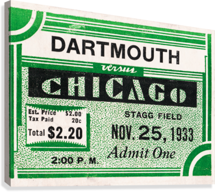 1933 Dartmouth Indians vs. Chicago Maroons  Canvas Print