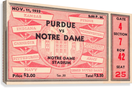 1933 NOTRE DAME VS. PURDUE ROW ONE BRAND  Canvas Print
