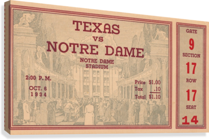 1934  Texas vs. Notre Dame  Canvas Print