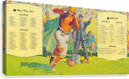 1935 college football season lineup cal tech loyola sideline art poster  Canvas Print
