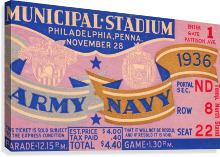 1936 ARMY NAVY GAME ROW ONE BRAND  Canvas Print
