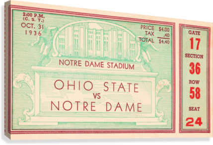 1936 notre dame ohio state football ticket stub sports art  Canvas Print