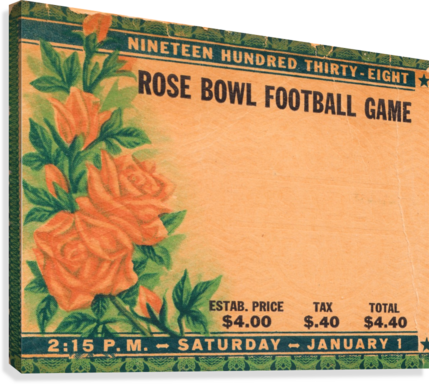 1938 ROSE BOWL CALIFORNIA WIN ROW ONE BRAND  Canvas Print