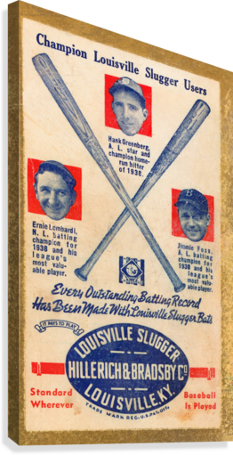 1939 LOUISVILLE SLUGGER AD POSTER ROW ONE BRAND  Canvas Print