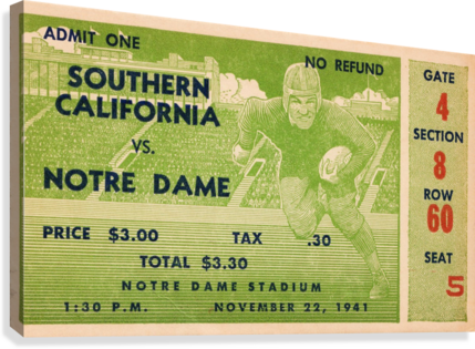 1941 usc notre dame football ticket wall art sports gift ideas south bend indiana  Canvas Print