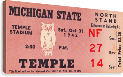 1942 Michigan State vs. Temple  Canvas Print