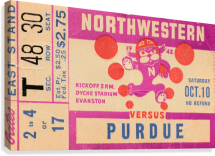 1942 Northwestern vs. Purdue  Canvas Print