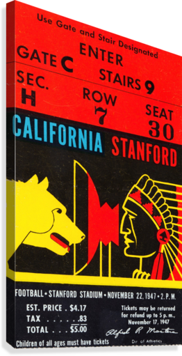 1947 Cal vs. Stanford Canvas print