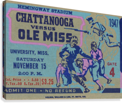 1947 Ole Miss Rebels vs. Chattanooga  Canvas Print