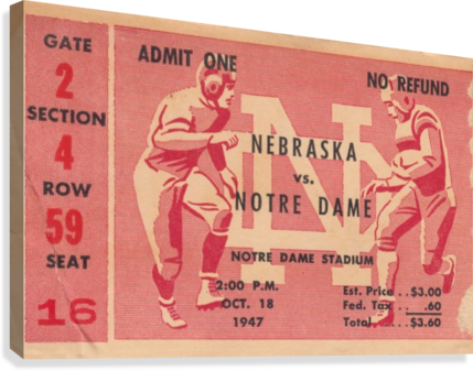 1947 Nebraska vs. Notre Dame  Canvas Print