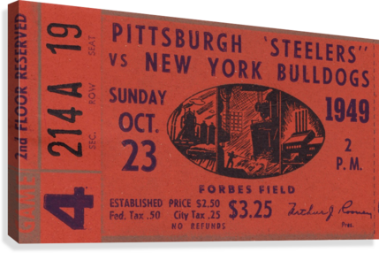 1949 Pittsburgh Steelers vs. New York Bulldogs  Canvas Print