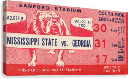 1950 Mississippi State vs. Georgia  Canvas Print