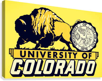 1950s vintage college art university of colorado buffaloes boulder  Canvas Print