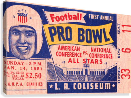 1951 First Pro Bowl Ticket Stub Art Canvas print