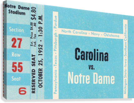 1952 north carolina tar heels notre dame irish college football sports ticket art south bend indiana  Canvas Print
