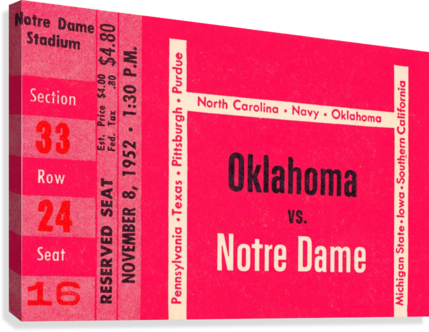 1952 Oklahoma vs. Notre Dame 1st National TV Game  Canvas Print